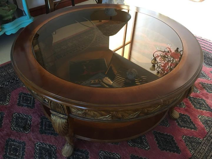 Imported carved glass top coffee table