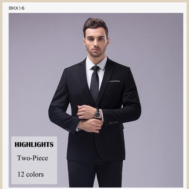 12 Color 2 Piece Slim Fit Business Men's Suits with Notch Lapel (Sizes S-5XL)
