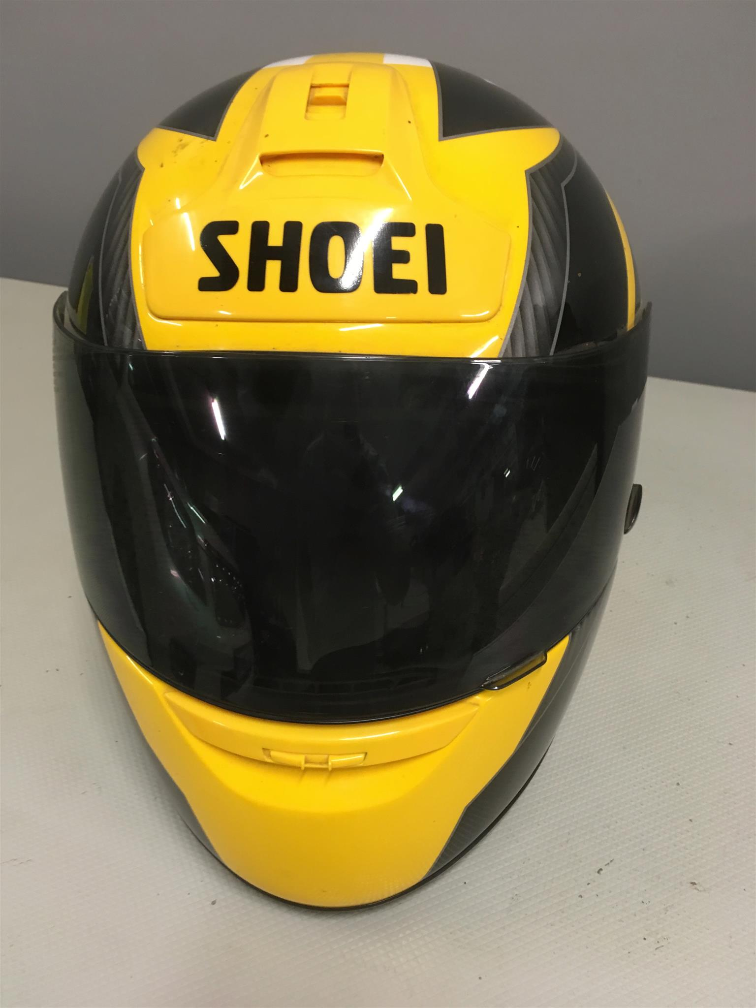 SHOEI HElmet Large size in bright yellow , in great condition, still like new.