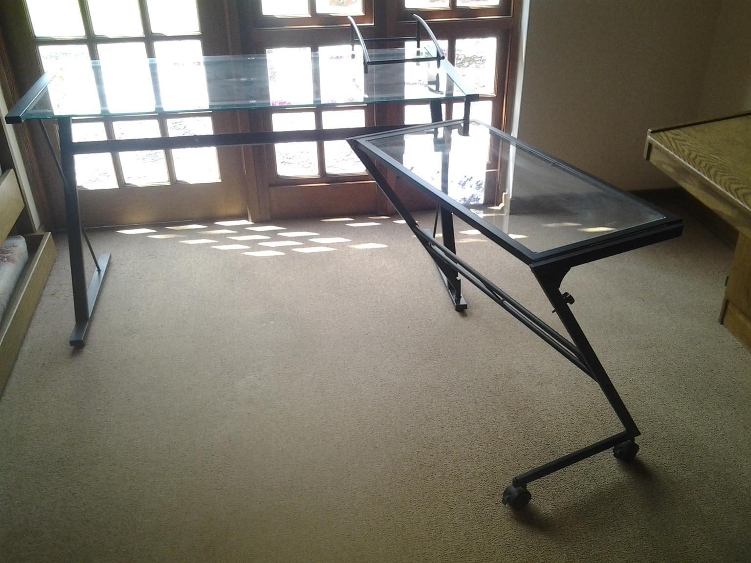 Glass desk with swing side desk