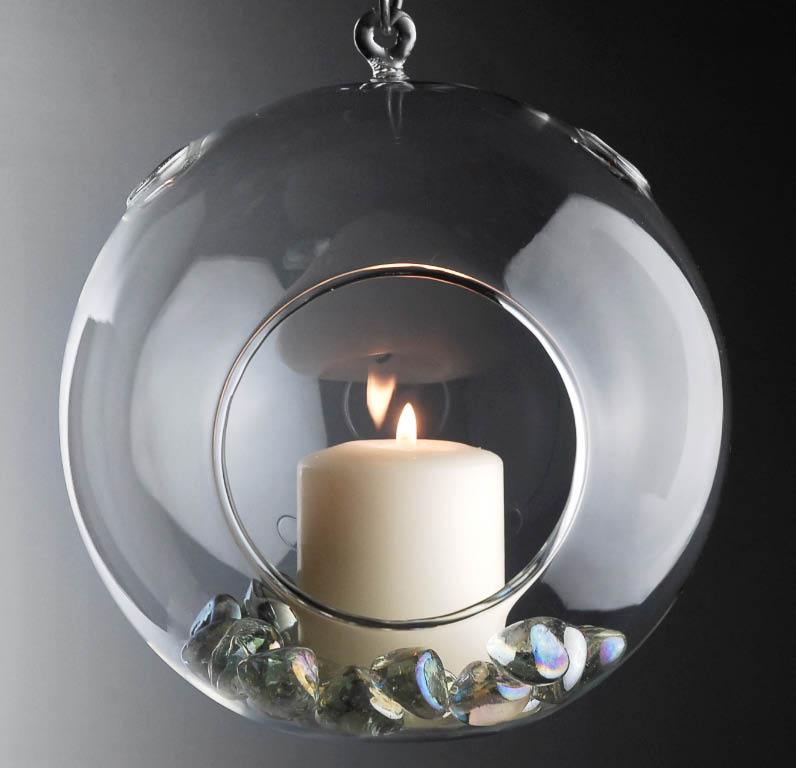 5 x Large Clear Glass Hanging Air Plant Terrarium Ball / Votive Candle Holder w/ Flat Base & Loop Hook