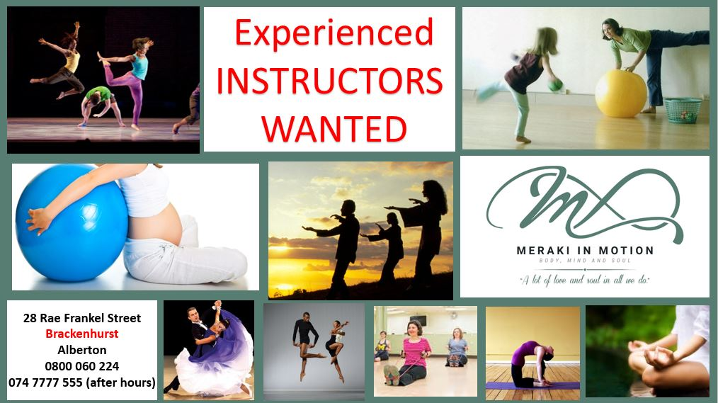 Dance/ Pilates/ Exercise/ ante natal etc  Instructors with existing client base wanted for wellness center.