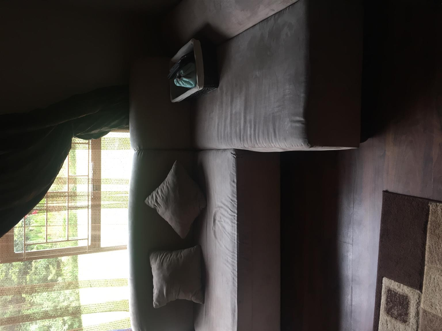 Suede L-shape couch for sale