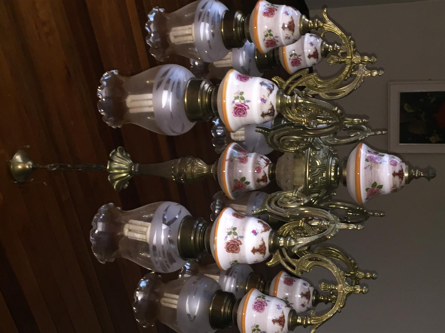 Solid Brass and Porcelain Chandelier (8 Lamps)