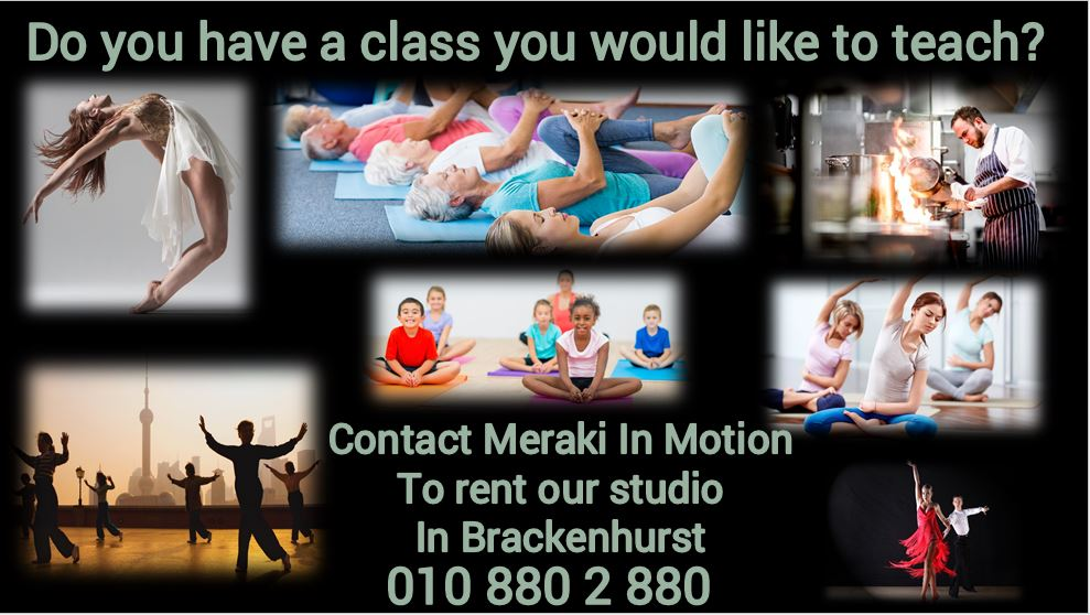 Studio to rent. Ideal for  Pilates, fitness, dance classes, martial arts,  ante natal. meditation. from R80 per hour. Conference center available for art classes or similar.