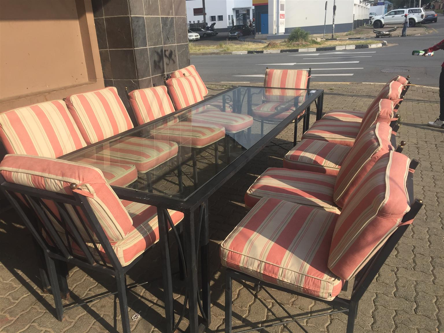 13 Piece Wrought Iron Patio Suite with Cushions