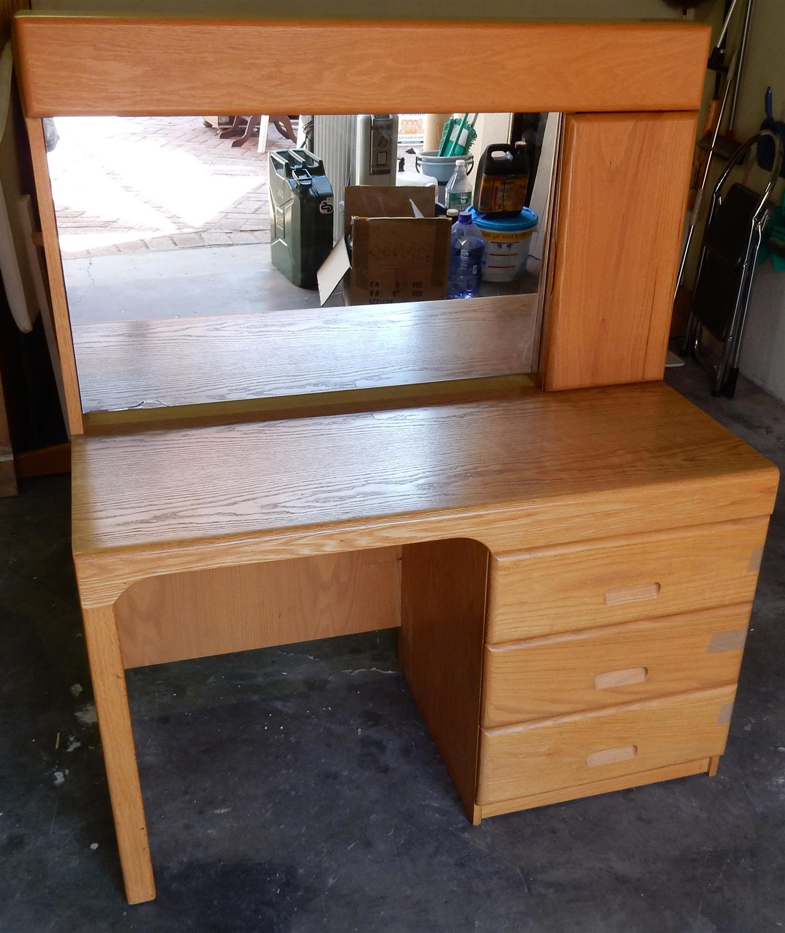 Solid Oak Dressing Table & Chair