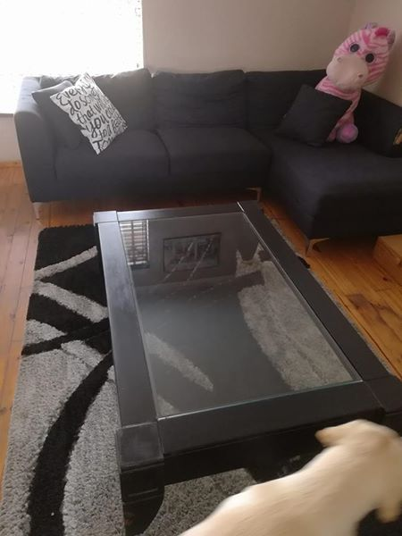 Shaggy Carpet, L-Shape Couch and Coffee Table Combo