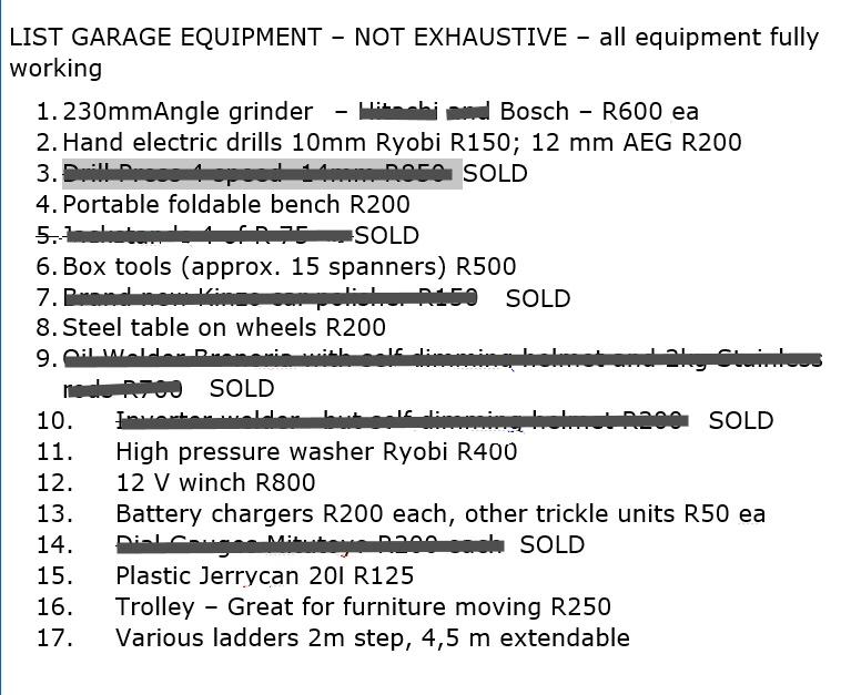 Garage Contents