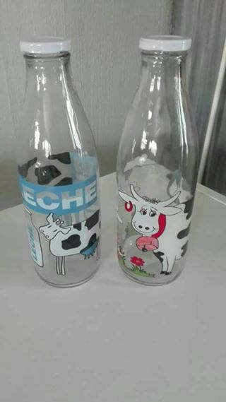 2 GLASS MILK BOTTLES