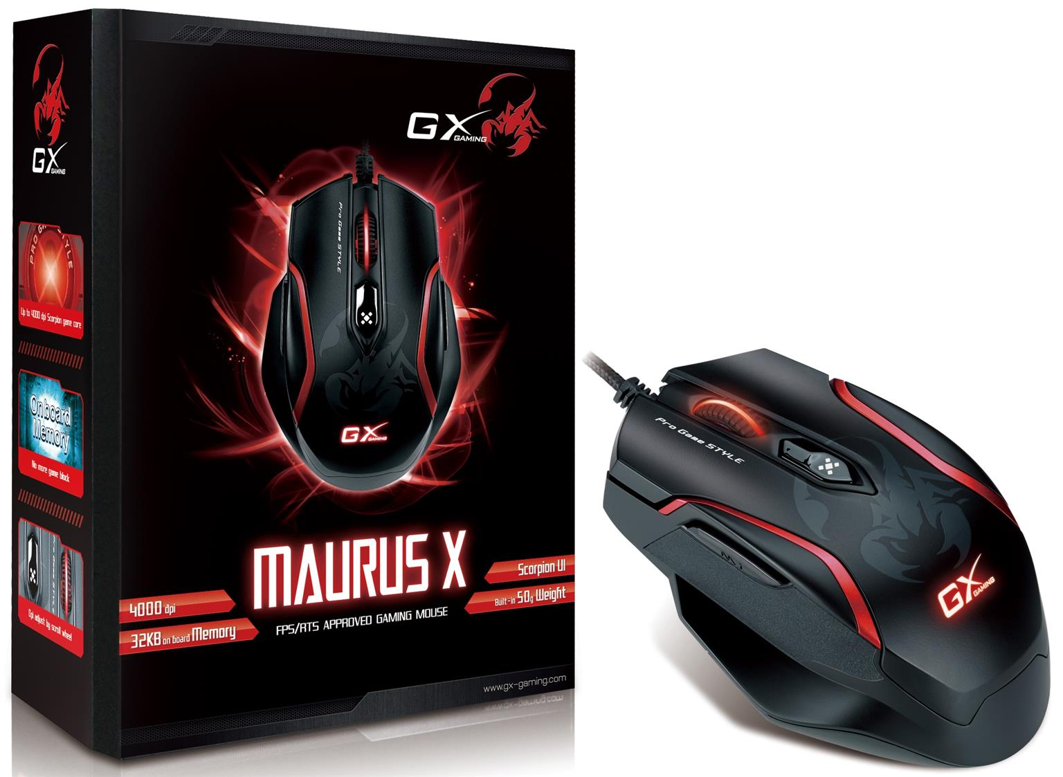 GX-Gaming Maurus X FPS Professional Gaming Mouse & Genius GX-Speed DarkLight Edition - mouse pad