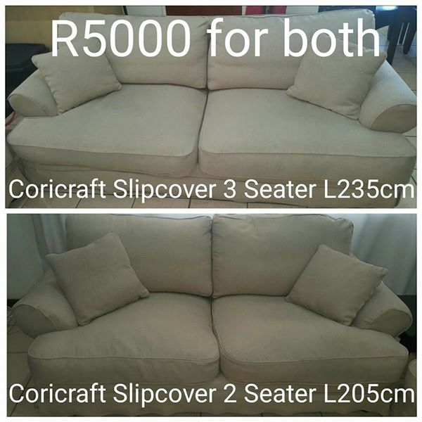 Coricraft slipcover 3 seater and two seater for sale