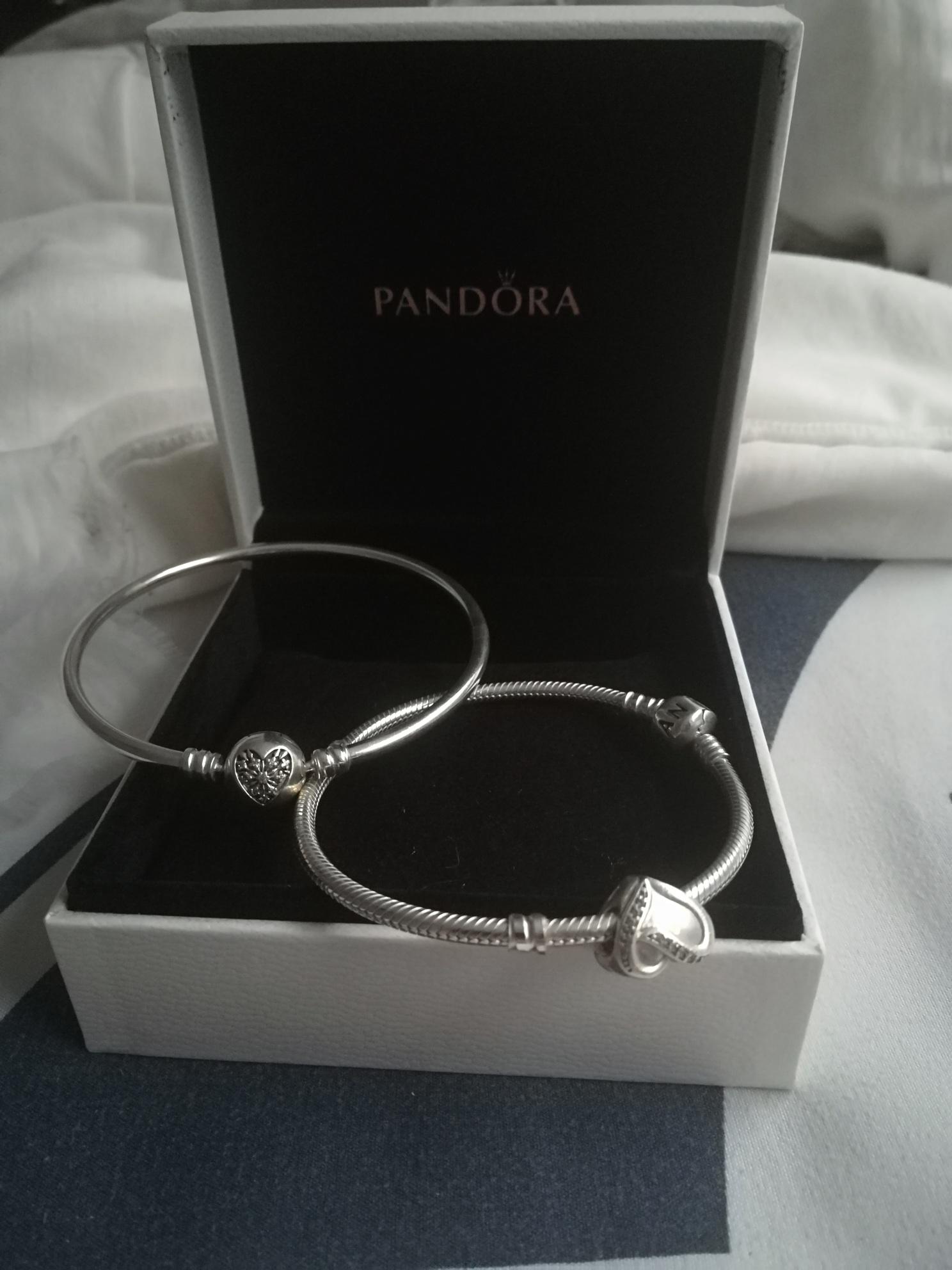 2 x Pandora bracelets with pendants