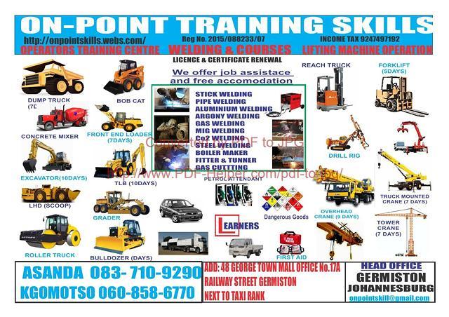 mobile crane,reach stalker,dump truck,bull dozer training center 0769449017