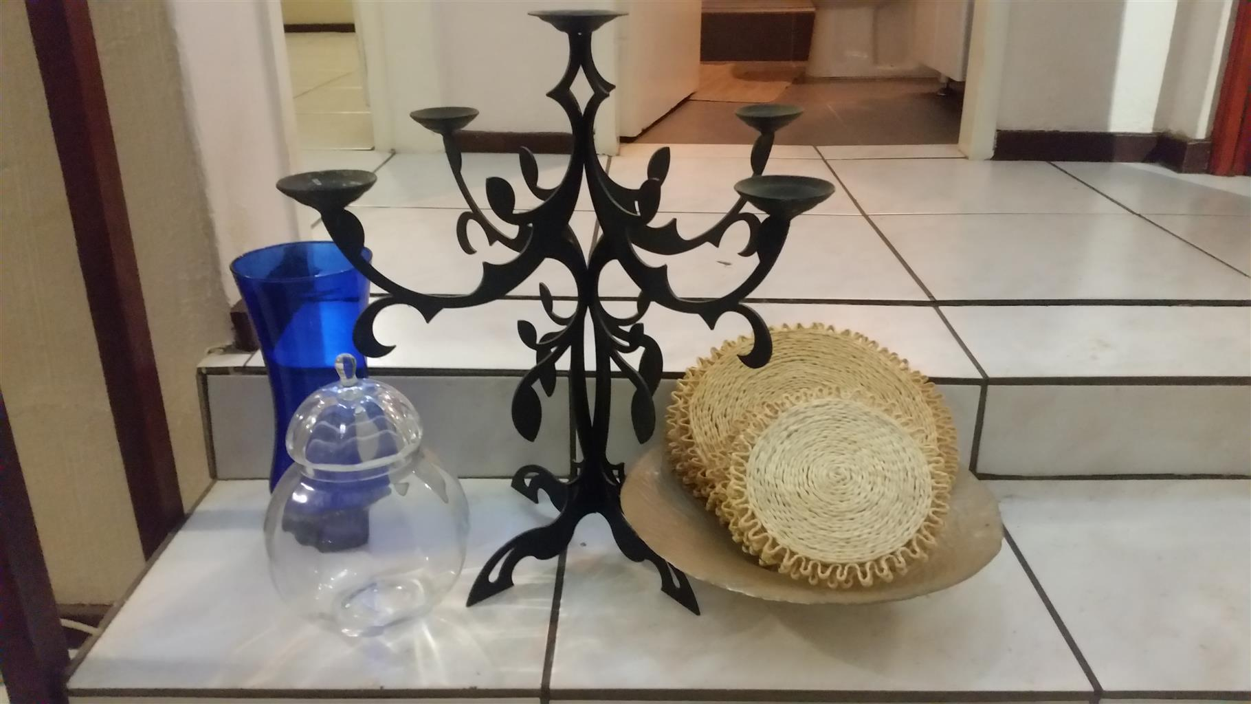 5 piece Wrought Iron Candle Stick holder, plus .......