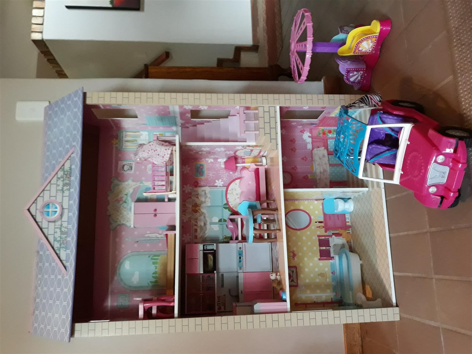 Barbie Doll's House, furniture, car and merry go round