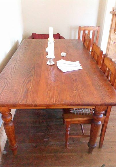 8 Seater Solid Oregon Pine Table Plus Chairs