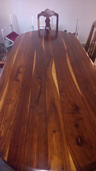 Unike swaar hout eetkamerstel