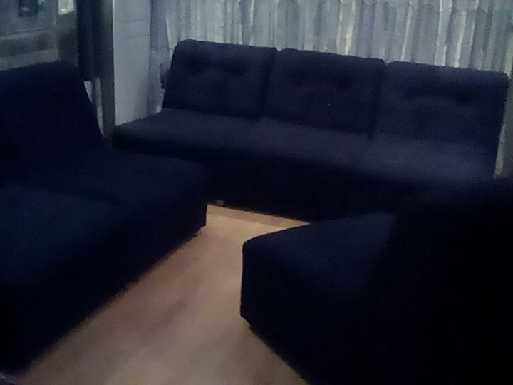 6 seater black couch