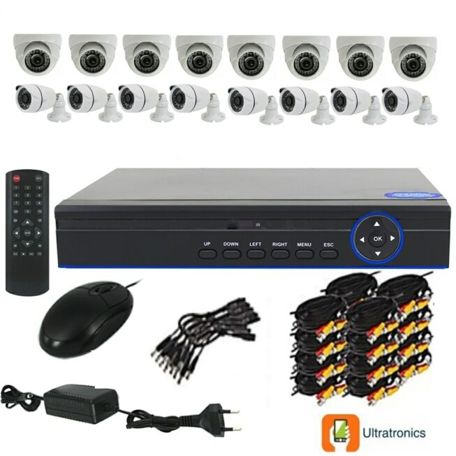 Full HD AHD CCTV Kit - 16 Channel CCTV DIY camera system - 8 Dome and 8 Bullet Cameras