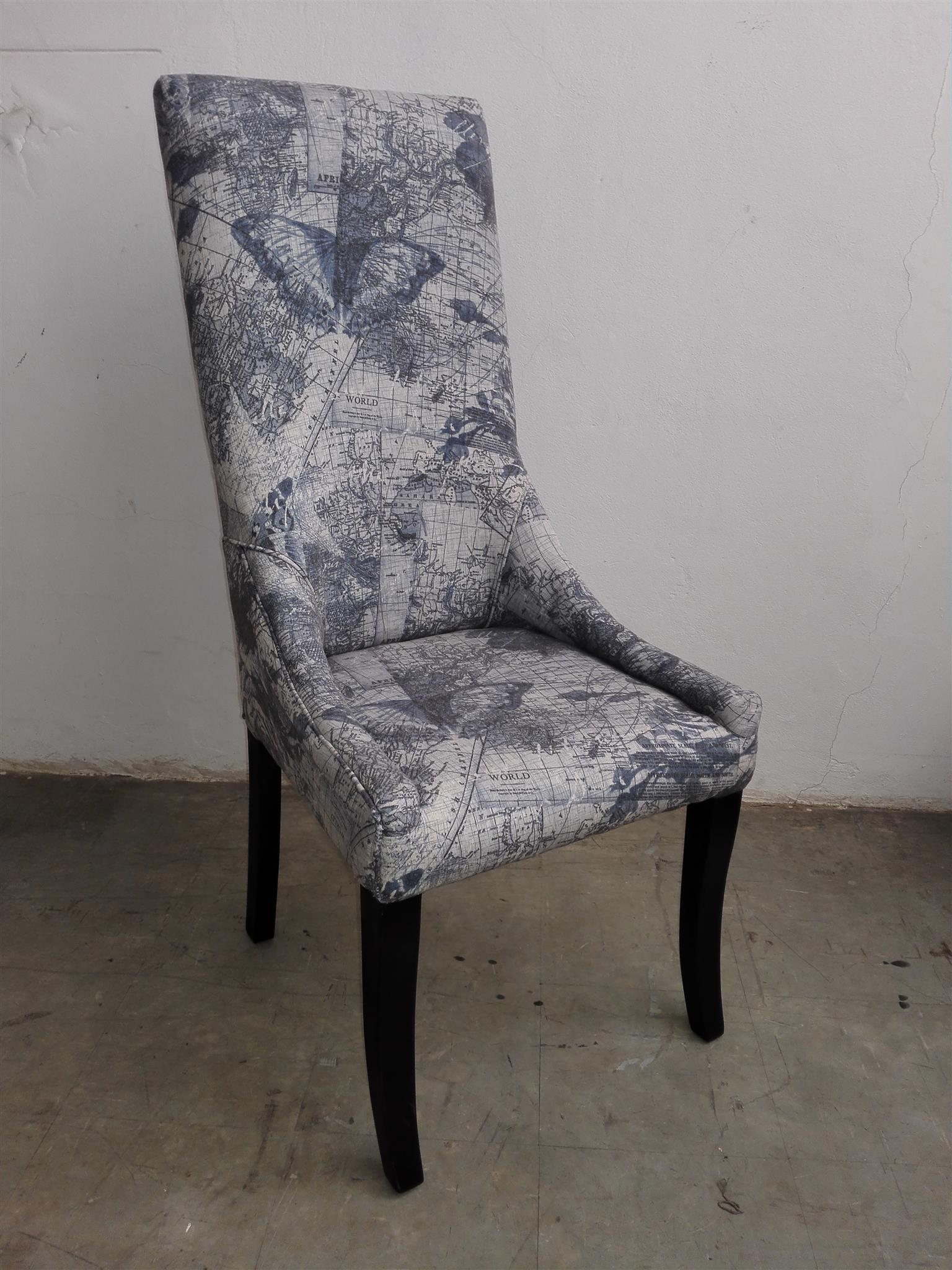 Blue print dining chair