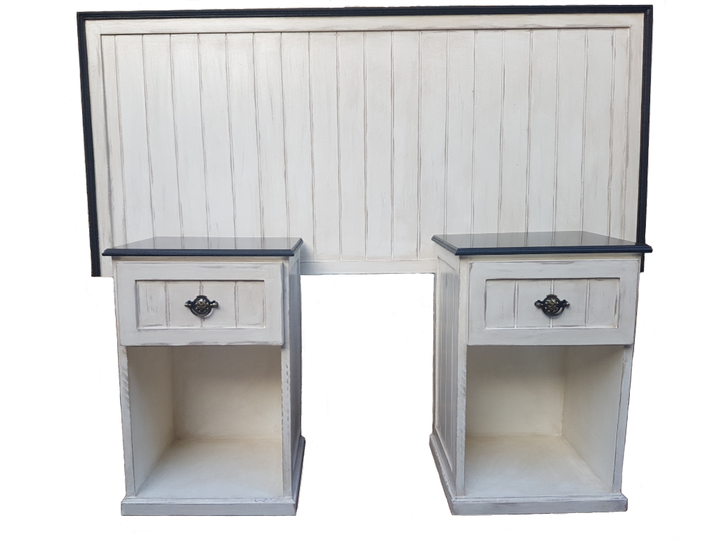 Antique Cottage Style Headboard & Pedestals