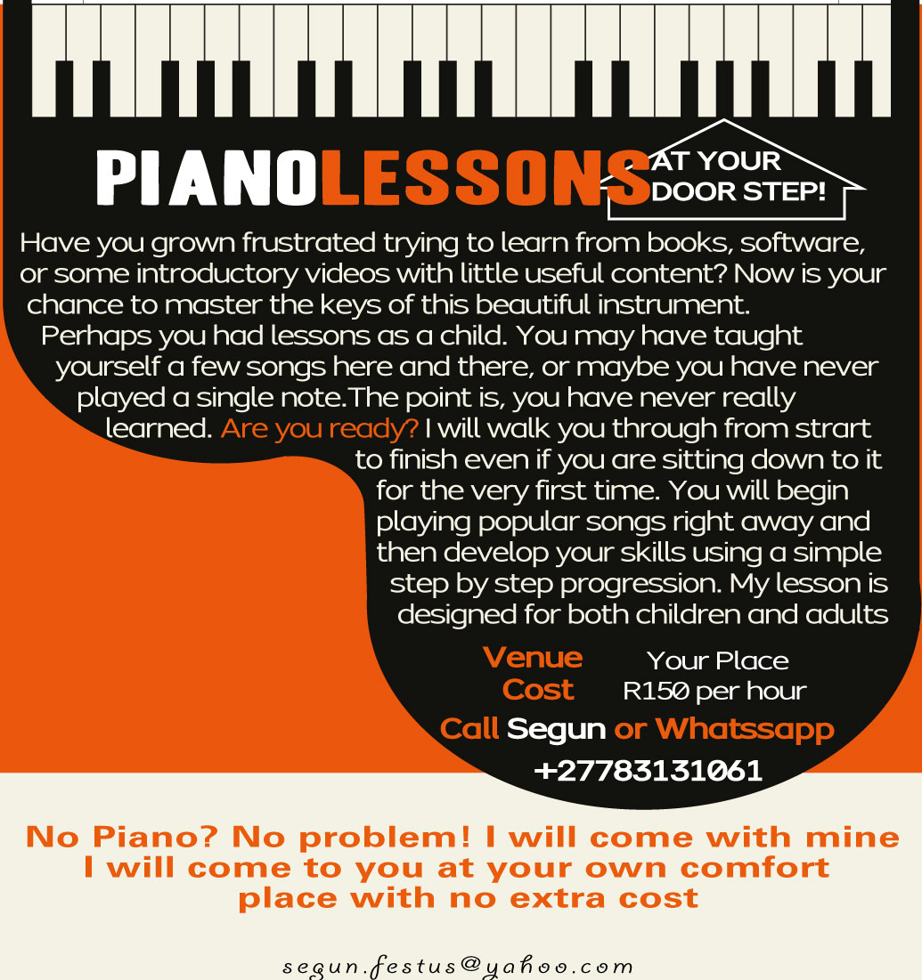 Piano Lessons at your door step