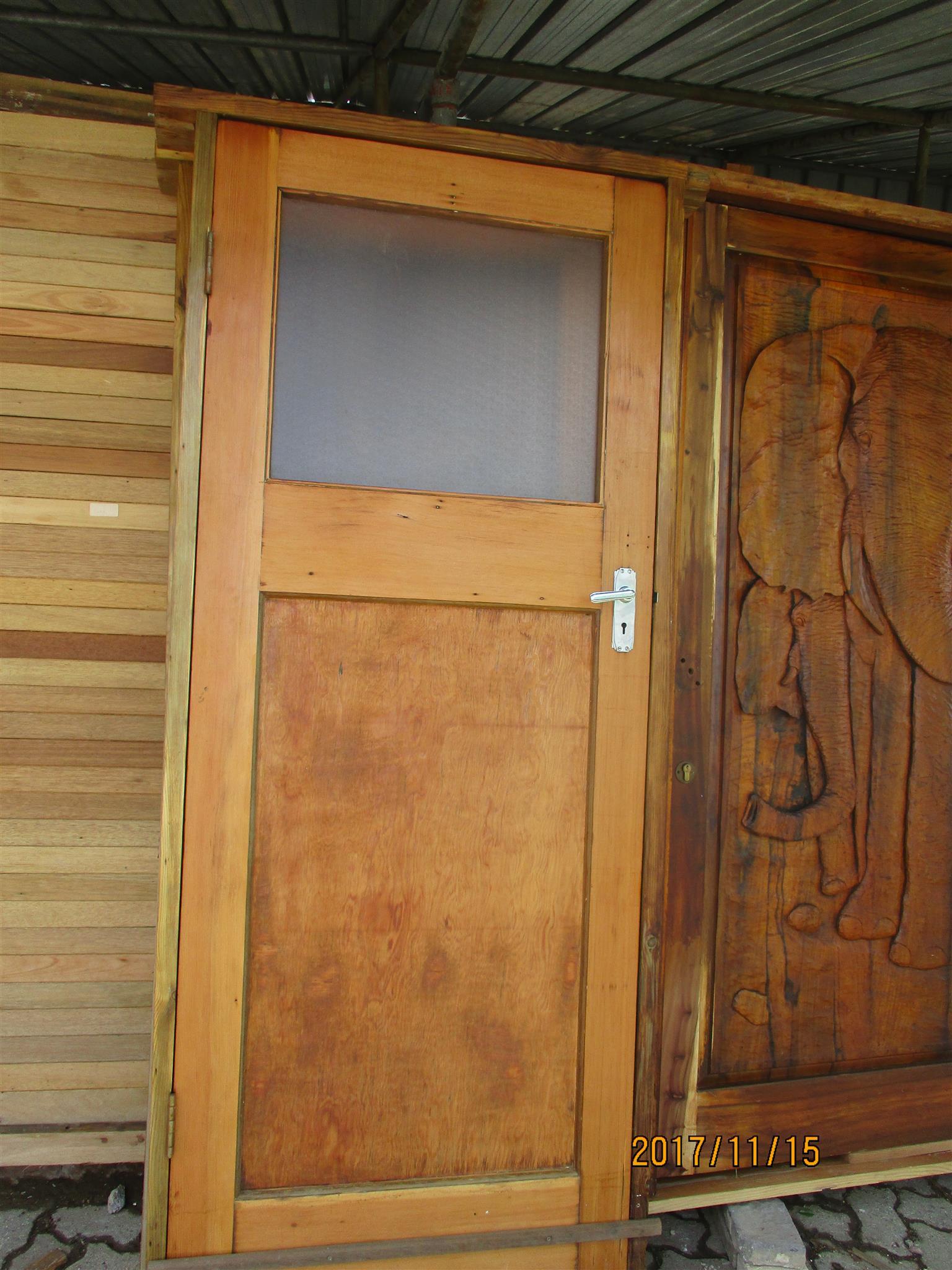 Refurbished Oregon Pine doors including door frame and door  handles for sale