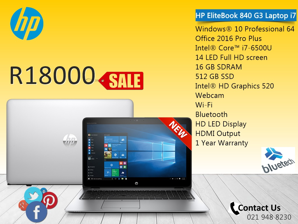 New HP EliteBook 840 G3 Laptop i7, 16GB RAM, 512 SSD, Bluetech Computers 021 9488230 for sale  Cape Town - Northern Suburbs