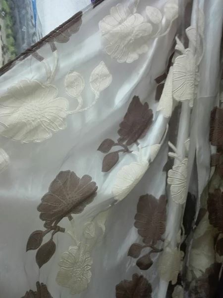 White and brown flower pattern curtains