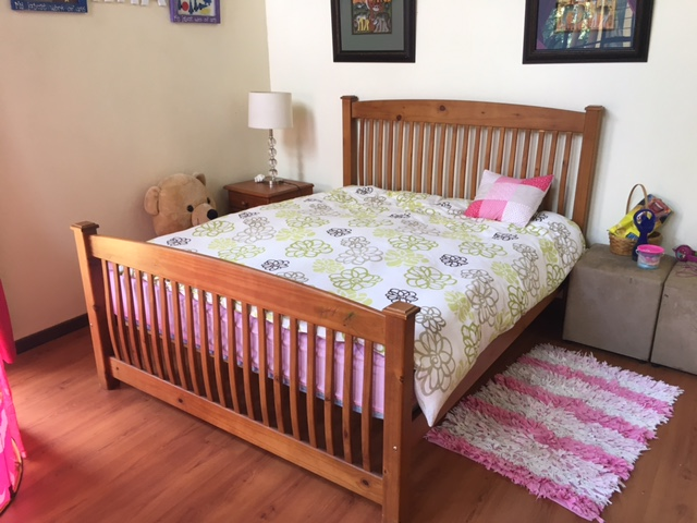 Wooden Bed, Mattress and Side Table