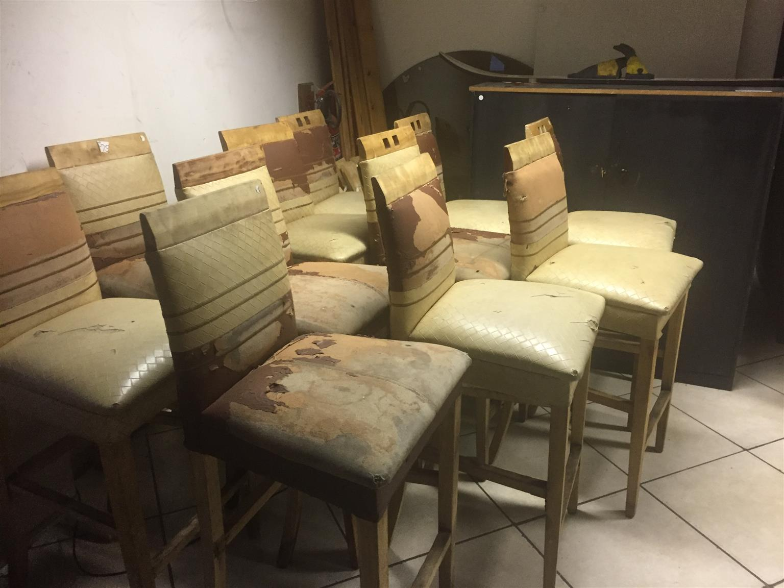 12 Bar Chairs in Need of Upholstery