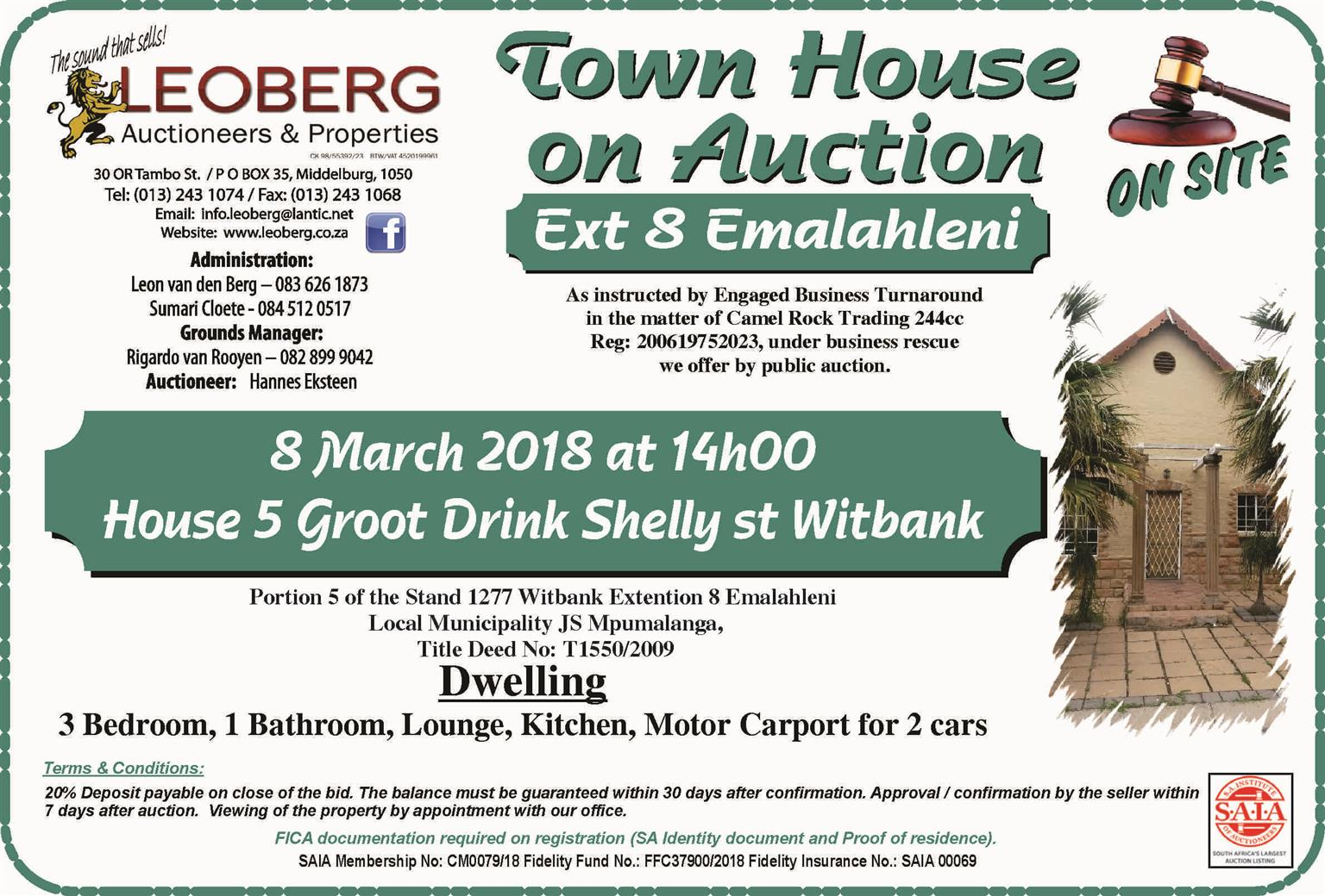 3 Bedroom Town House on Auction - 8 March 2018 at 14h00