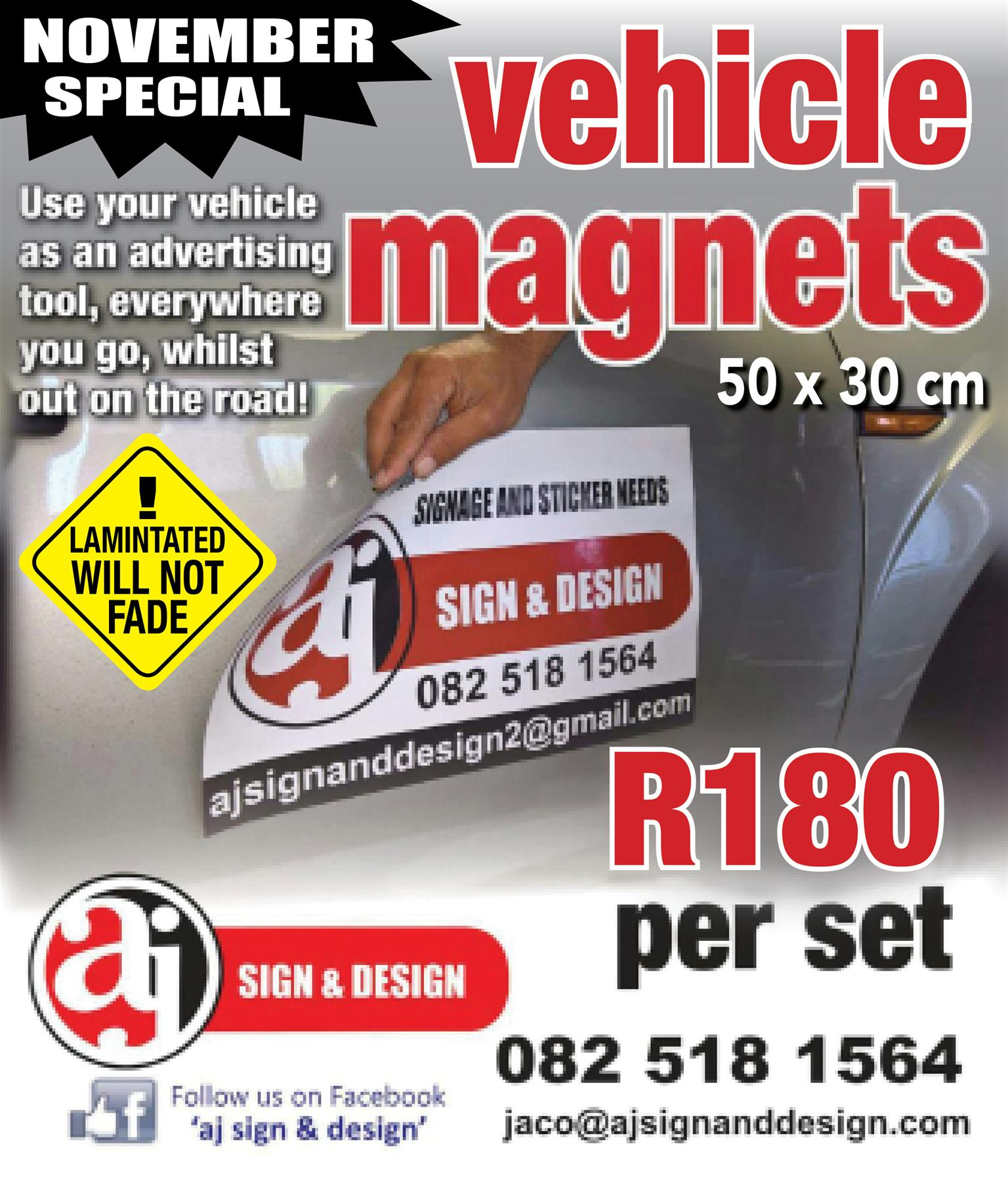 VEHICLE MAGNETS - ADVERTISE ON THE GO - NOVEMBER SPECIAL (/while stock lasts)