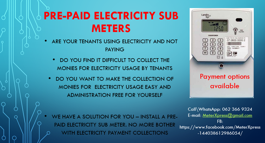 PRE-PAID ELECTRICAL SUB METERS (FOR TENANTS) | Junk Mail