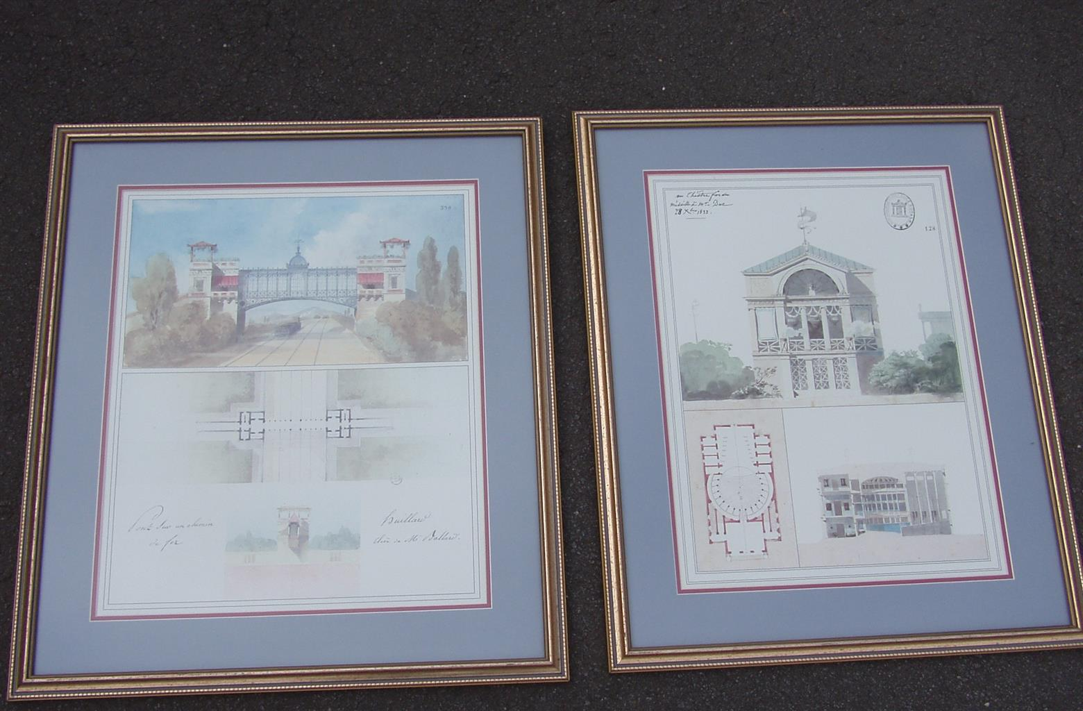 2 Quality Architectural Prints Framed - 53(L) x 65.5 (H)