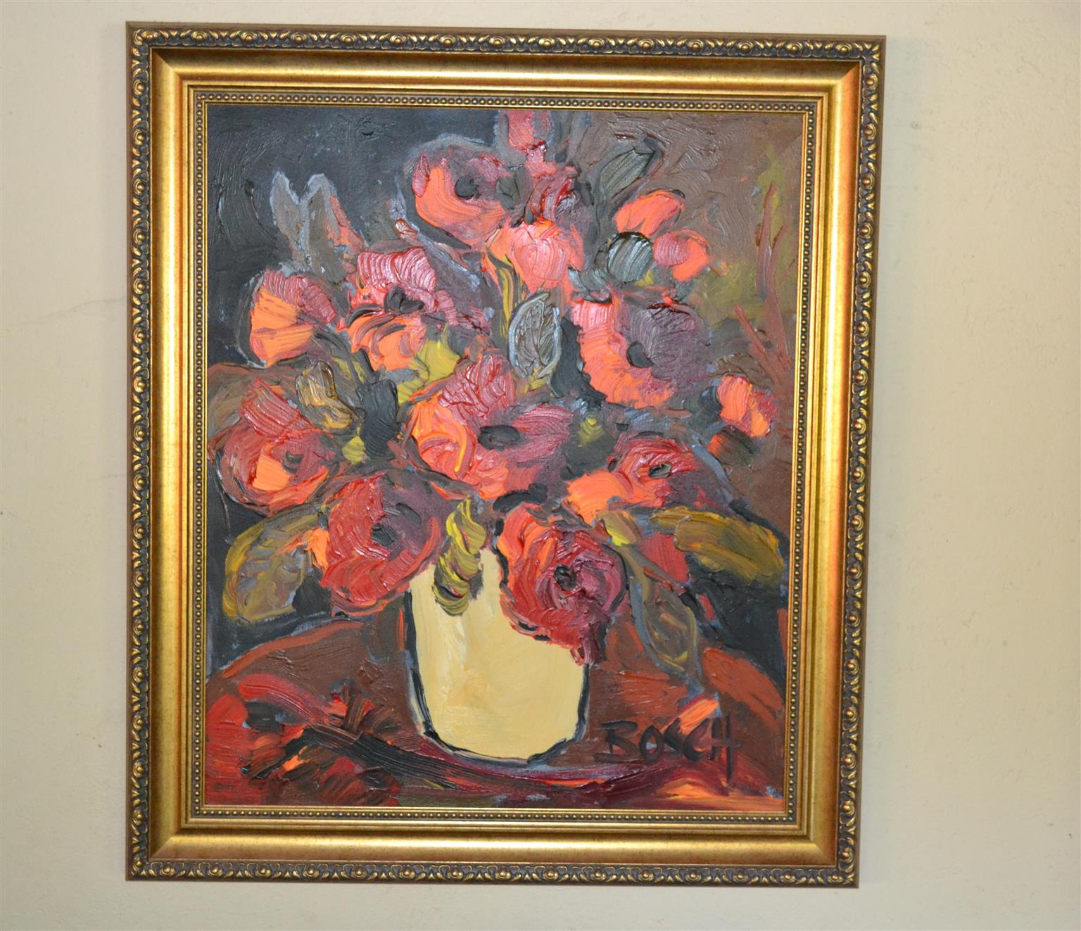 """CORNELIUS BOSCH  Painting  - """"Flowers in a vase"""", Oil on Canvas, framed"""