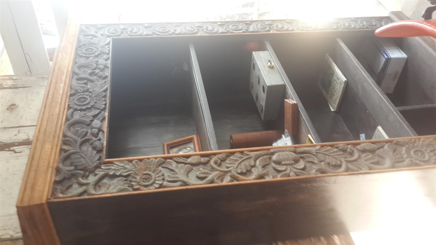 carved wooden cuboard