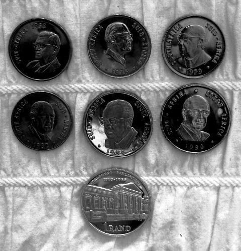RSA PRESIDENTS 1968 to 1990 Proof coin set plus original signed FDC's - CR Swart to PW Botha