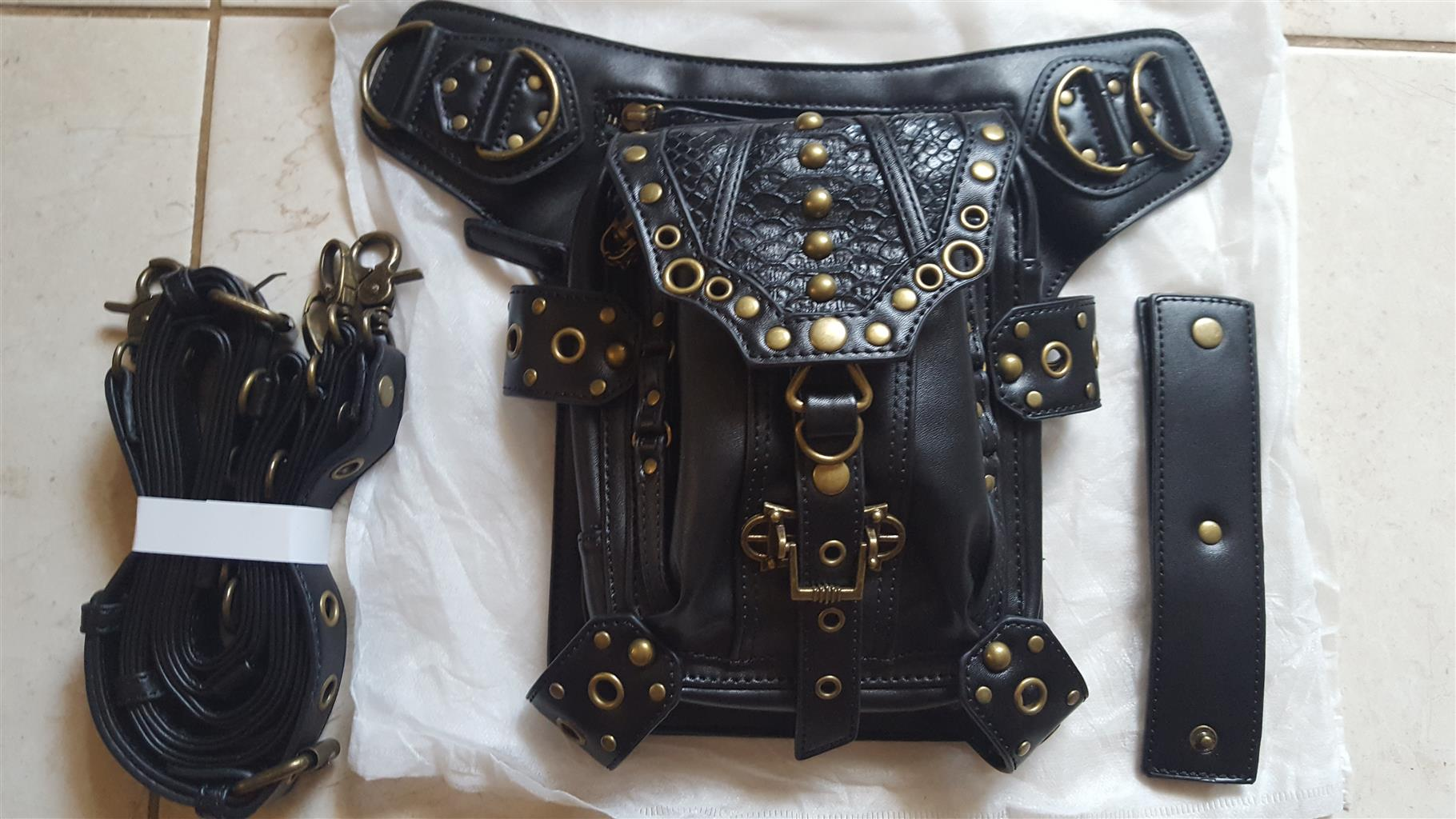 New black leather thigh bag