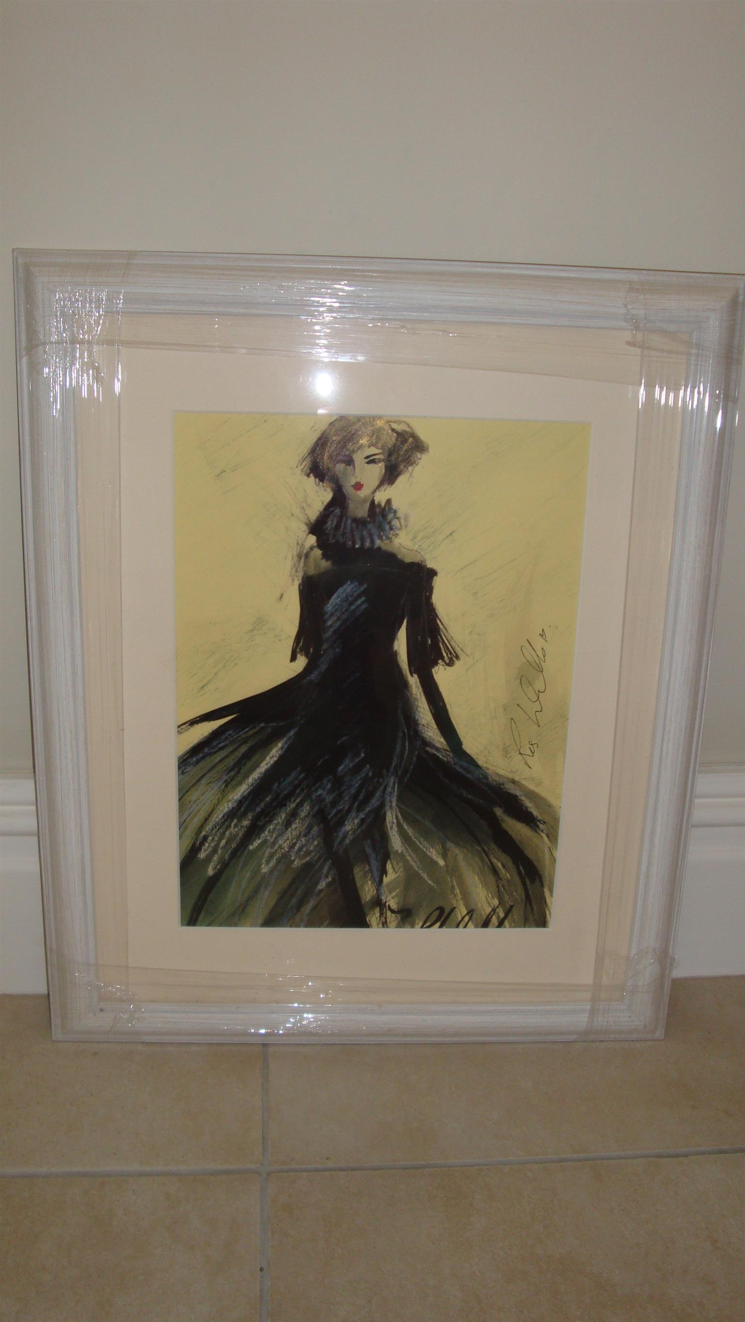 Affordable, original and framed art by Irish artist Ros Webb - girl with black flared dress