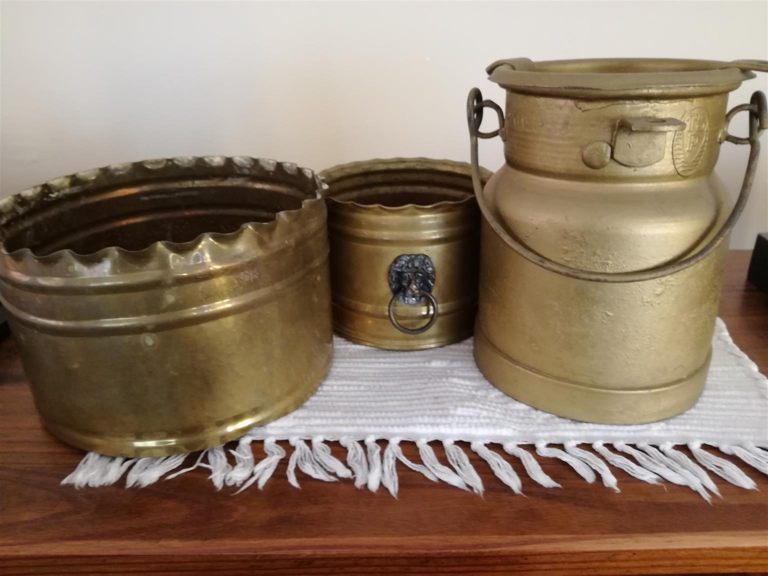 copper coated milkcan , flowerpot holders x2