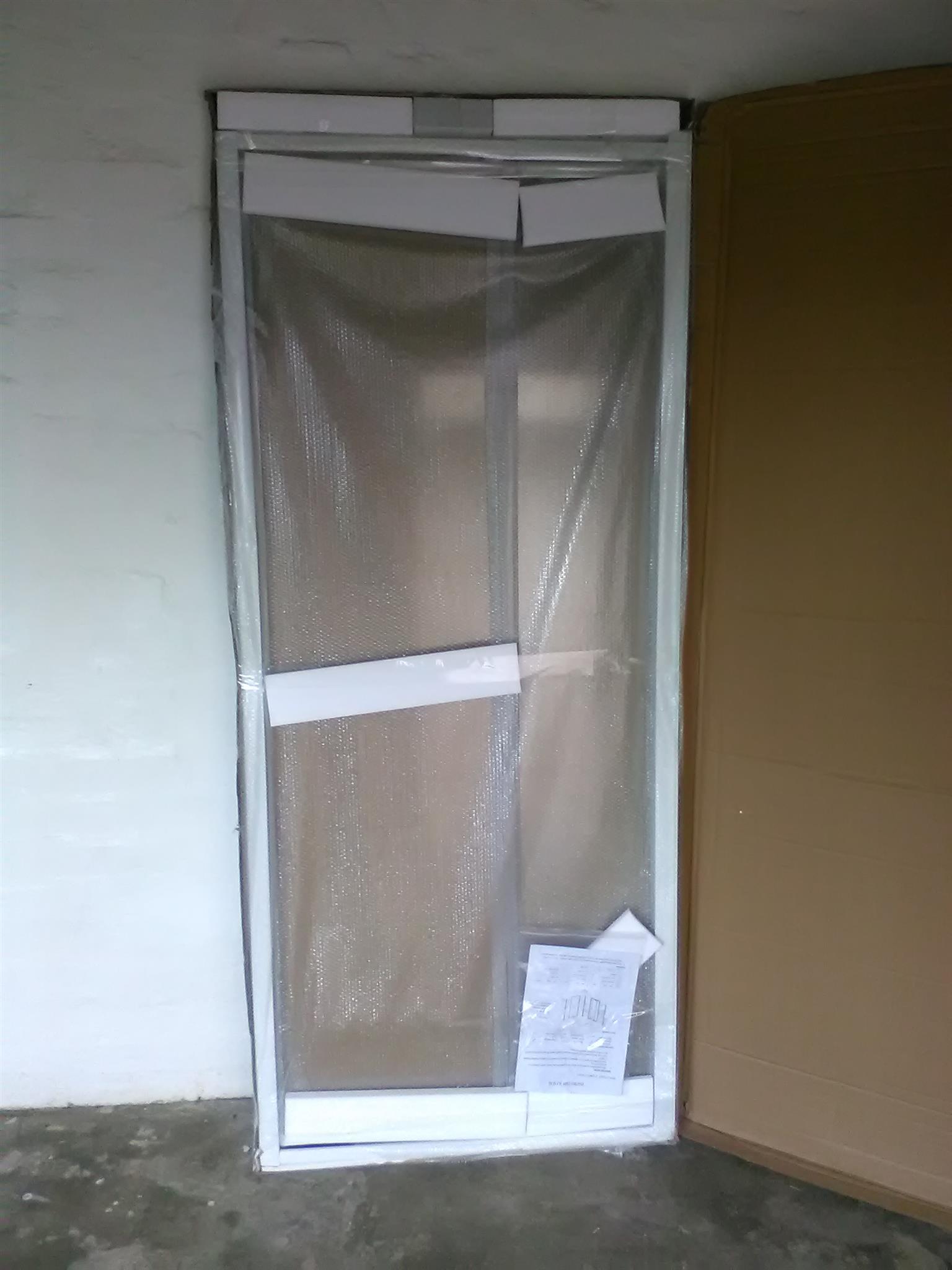 White CTM clear glass adjustable pivot shower door