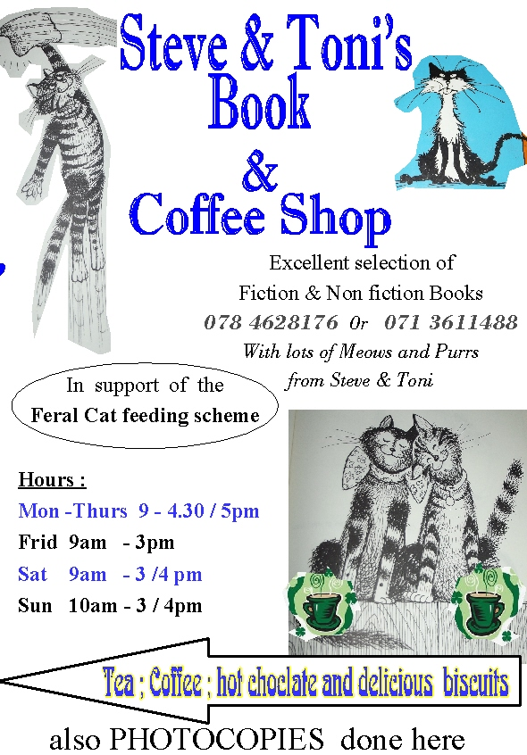 Visit Steve & Toni's Book and Coffee Shop ---Meow