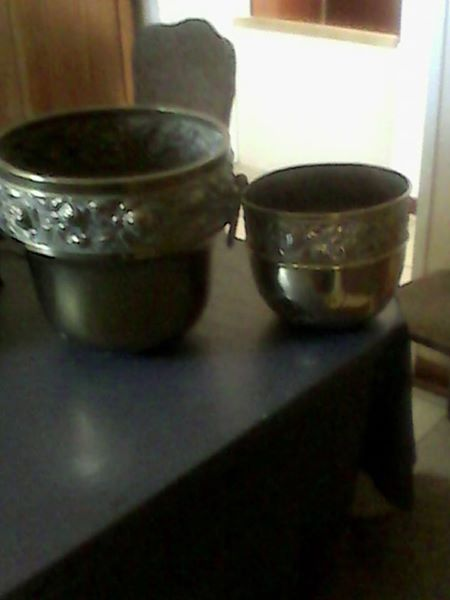 Two copper buckets