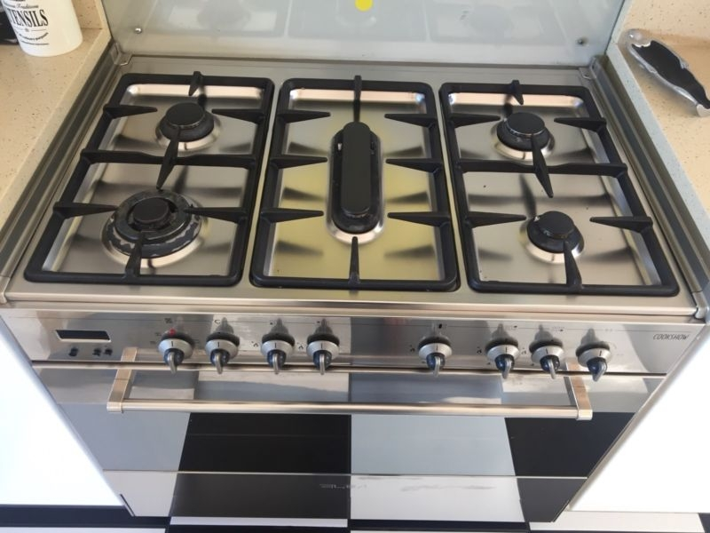 Beautifull elba free standing eltric oven thermofan and x5 burner gas top