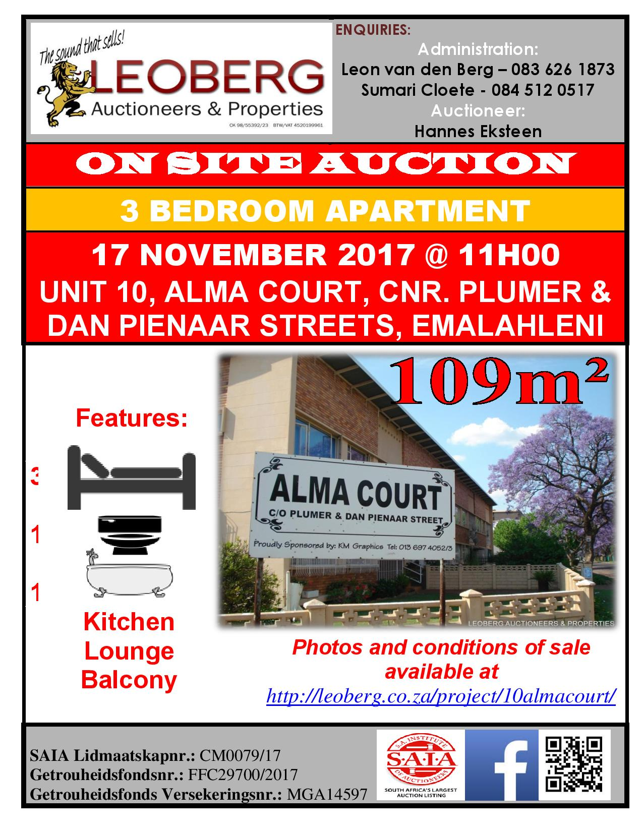 3 Bedroom Apartment on Auction - 17/11/2017 @ 11h00