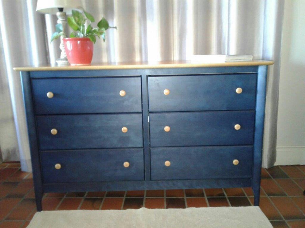 DESK & TALLBOY / SERVER. AS NEW. SOLID WOODEN OAK COLOUR TOPS WITH BLUE SIDES