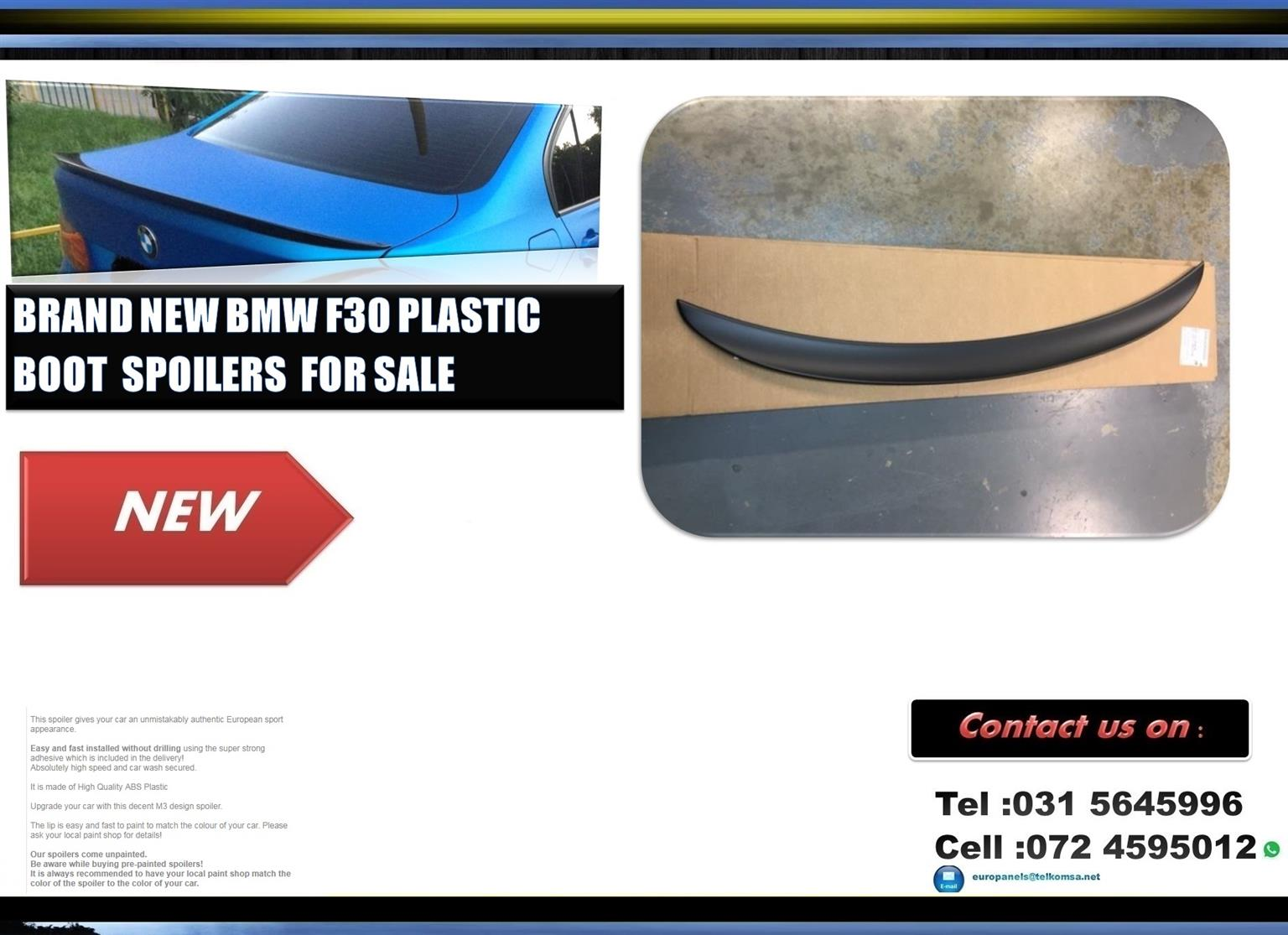 BMW F30 3 Series Brand New Plastic M-Performance Style Boot Spoiler for sale Price :R850