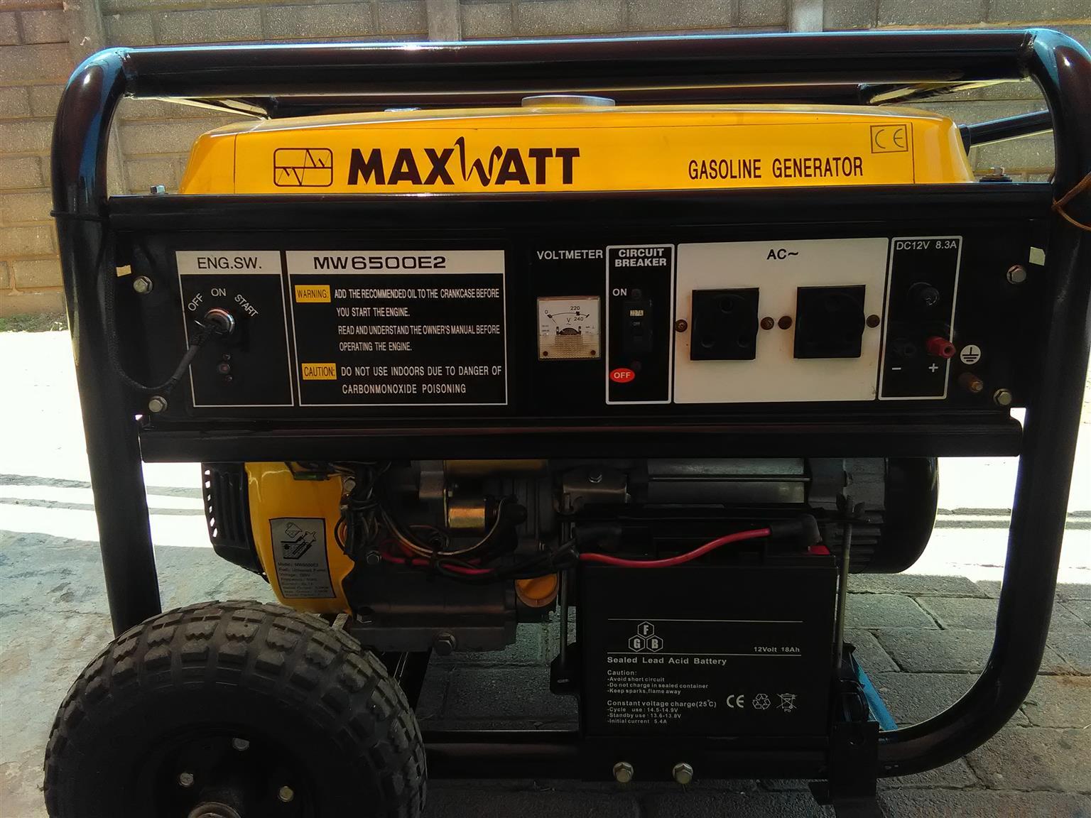 Generator 6.5kva keystart on wheels